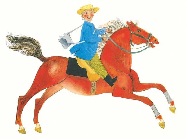 Reiter auf Pferd.