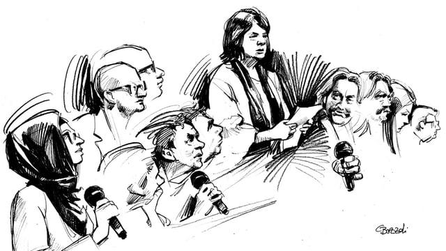 Zeichnung der Urteilsverkündigung.