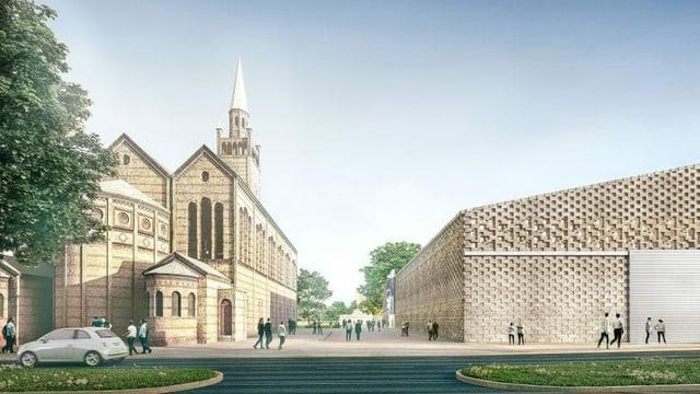 Ein Entwurf mit einem Haus und einer Kirche.