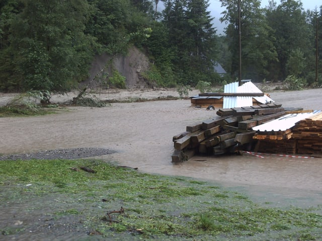 Diverse Holzstapel liegen im braunen Wasser. Auch ein paar Räder schwimmen in den Fluten.