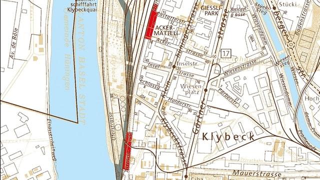 Farbige Karte mit eingezeichneten Chemieschlamm-Orten
