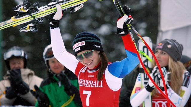 Marianne Kaufmann-Abderhalden bei der Siegerehrung nach dem 3. Platz in Lake Louise.