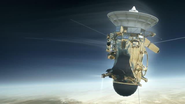 Illustration einer Raumsonde, die über Saturn schwebt.