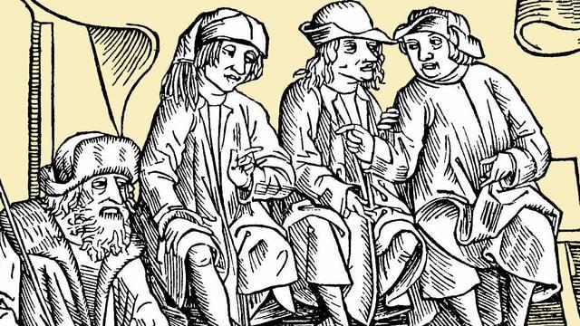 Holzschnitt einer mittelalterlichen Gerichtsverhandlung