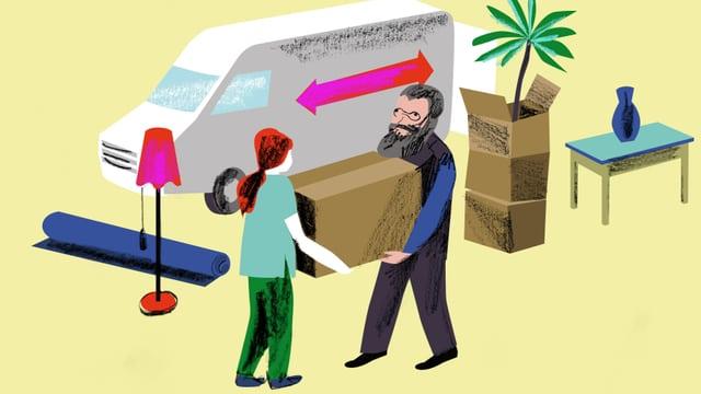 Illustration: Gottfried Keller hilft einer jungen Frau beim Kisten schleppen.