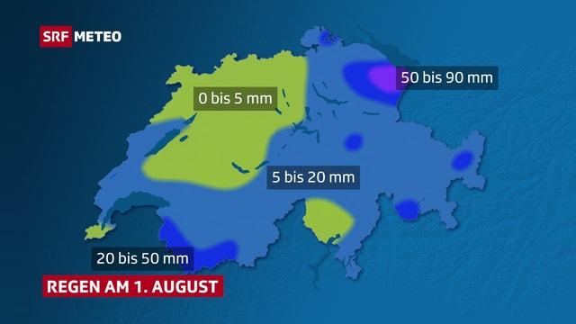 Auf einer Schweizer Karte ist flächig eingezeichnet, wo wie viel Regen fiel.