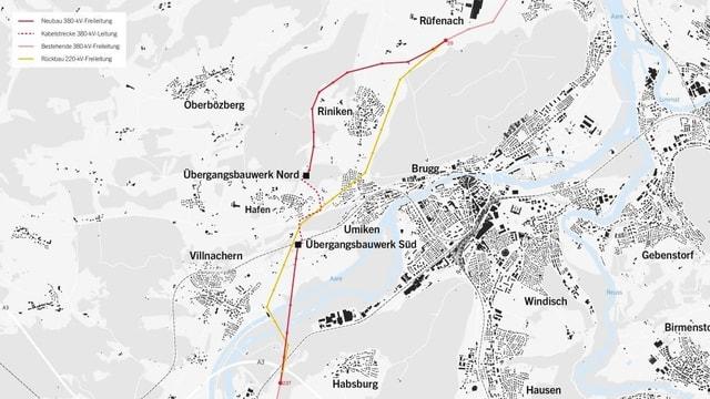 Karte mit Standorten der Leitungen.