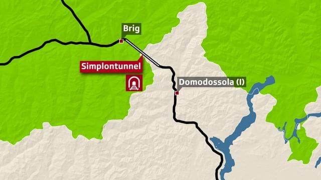 Karte der Gegend um den Simplontunnel.