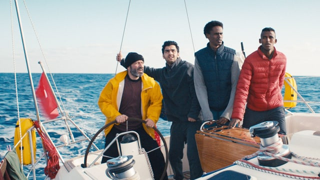 Flüchtlinge auf dem Boot.