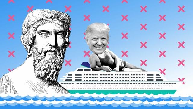 Bildmontage: Platon und Donald Trump