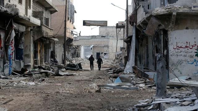 Eine zerstörte Strasse in Aleppo.