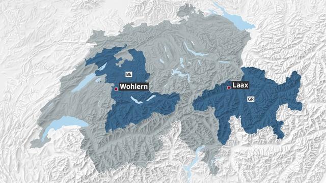 Charta da la Svizra cun las duas vischnancas da Laax e Wohlern.