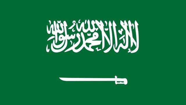 Flagge von Saudi-Arabien mit arabischer Schrift und einem symbolisierten Schwert.