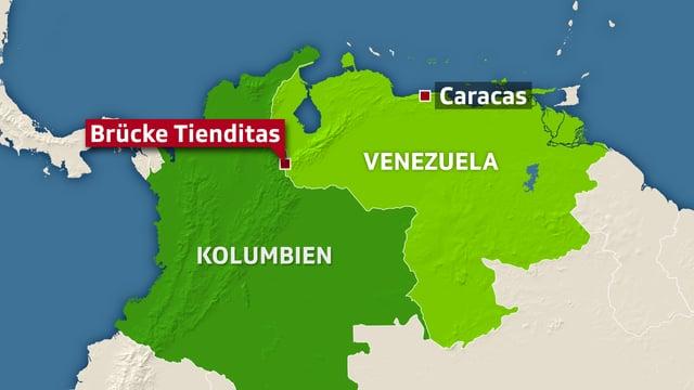 Karte, auf der Venezuela grün eingezeichntet ist.