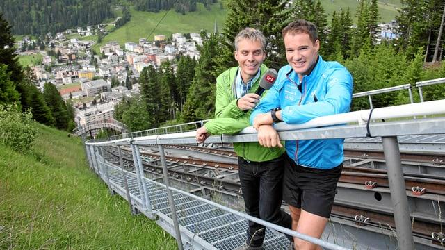 Reto Scherrer und Dario Cologna bei der Schatzalpbahn