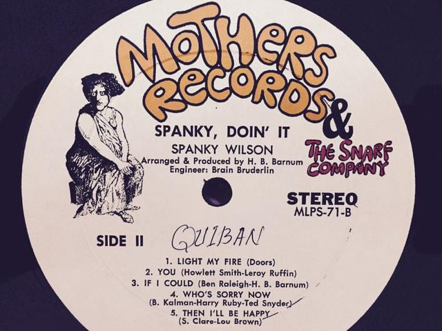 Schallplattenlabel mit Tracklist der B-Seite