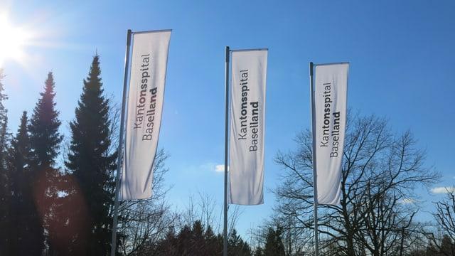 """Drei Fahren mit der Aufschrift """"kantonsspital Baselland"""" wehen im Wind."""