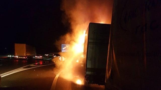 Ein brennender Lieferwagen bei einer Autobahnausfahrt. Es ist noch dunkel.