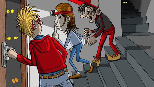 Illustration von drei Kinder, die im Schulhaus herumschleichen