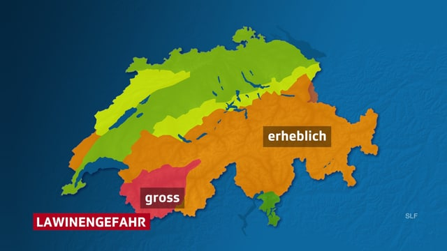 Schweizer Karte mit eingezeichneter Lawinengefahr, verbreitet erheblich im Alpenraum, im Wallis teils gross