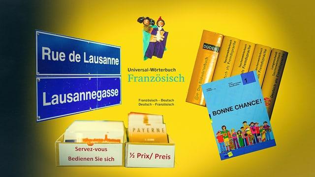 Collage: Lehrbücher, Dictionnaire, Pierrot und Pierrette