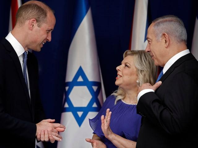 Prinz William mit Netanjahu und dessen Frau.