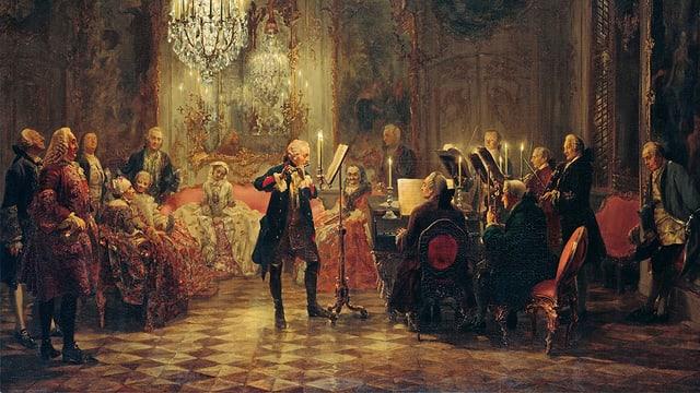 Gemälde, dass ein Konzert in einem pompösen Saal zeigt.