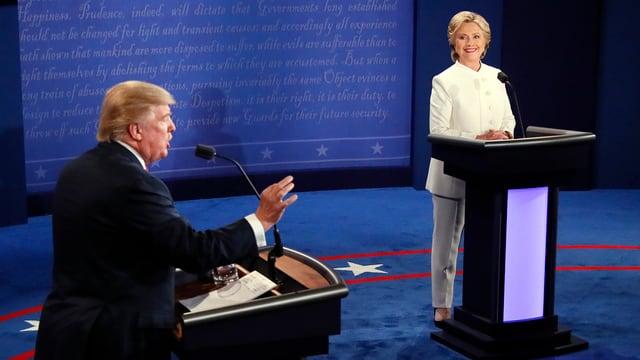 Donald Trump e Hilary Clinton durant la debatta.