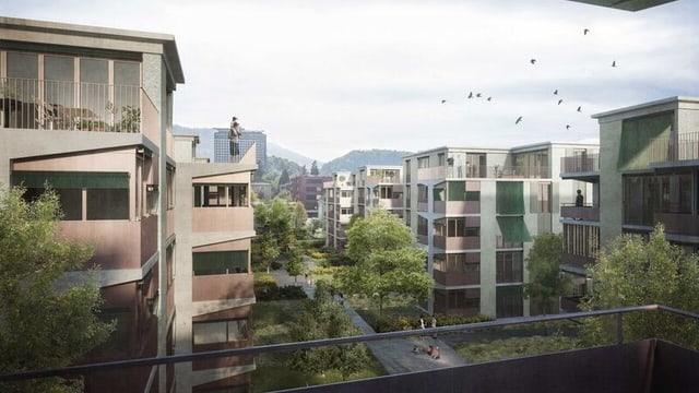 Visualisierung der neuen Häuser an der Libellenstrasse Luzern.