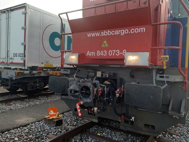 Eine Rangierlokomotive mit der neuen automatischen Kupplung.