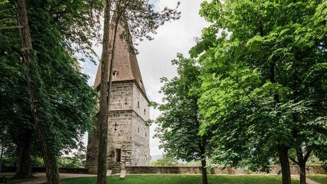 Ein Turm neben mehreren Bäumen