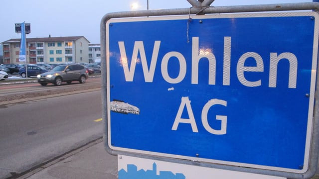 Ortsschild der Gemeinde Wohlen.