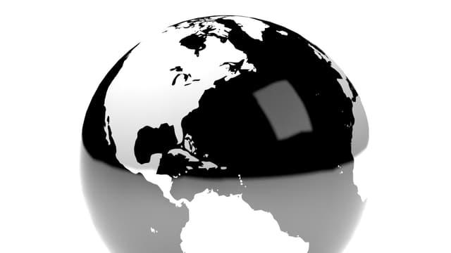 Schwarze Weltkugel.