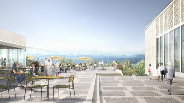 Bunte Zeichnung einer Terrasse mit Tischen, Menschen und im HiGru Zürichsee und Voralpen