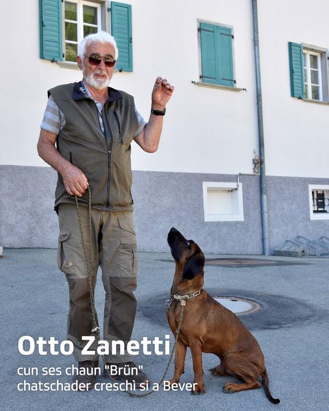 """purtret da Otto Zanetti e ses chaum """"Brün"""""""