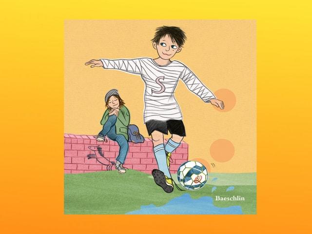 Eine Zeichnung von Sascha beim Fussballspiel