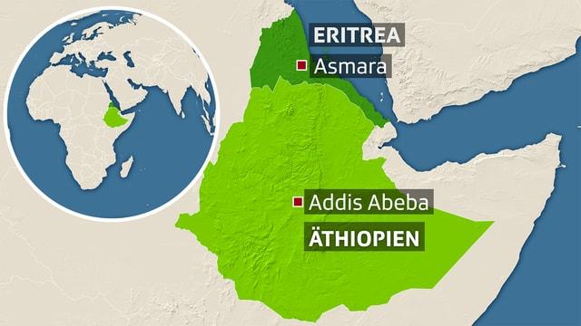 Eritrea und Äthiopien mit den markierten Hauptstädten.