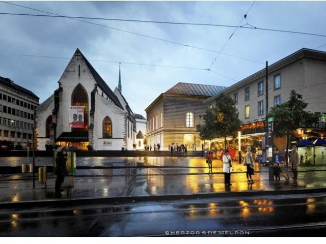 Photomontage des Barfüsserplatzes mit Abendbeleuchtung.