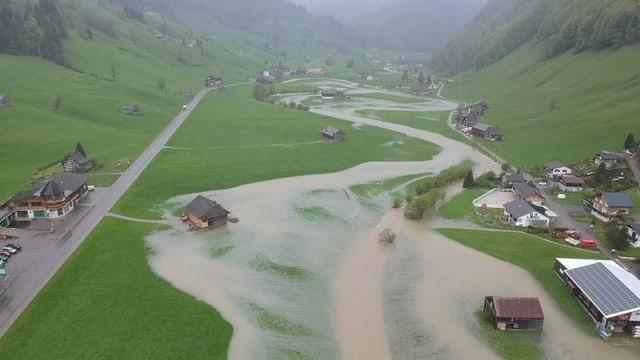 Überflutete Wiesen bei Alt St. Johann