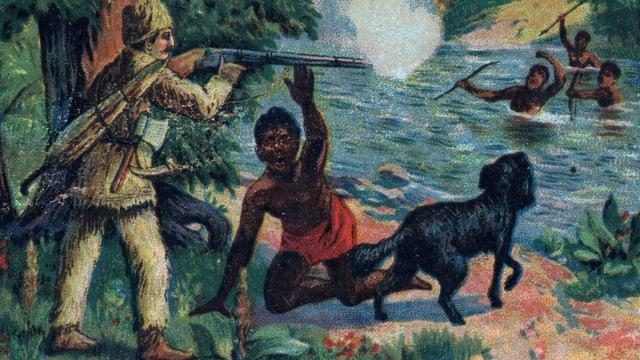 Ein farbiger Steindruck: Robinson Crusoe zielt mit einem Gewehr auf drei schwarze Männer.