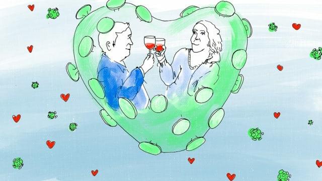 Ein Mann und eine Frau trinken Wein in einem herzförmigen Raum, der an einen Coronavirus erinnert.