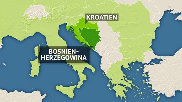 Eine Karte Osteuropas. Bosnien-Herzegowina und Kroatien sind in dunklerem grün eingefärbt als die übrigen EU-Länder und angschrieben.