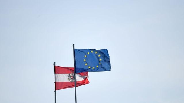 Fahnen von Österreich und der EU.
