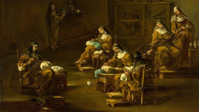 Gemälde: Nonnen an der Arbeit