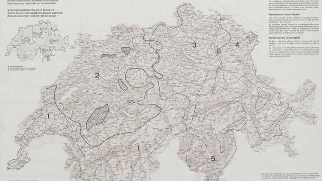 Schweizerkarte, unterteilt in Gebiete.