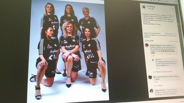 Foto der sechs Frauen in schwarzen Leibchen und mit schwarzen Stöckelschuhen