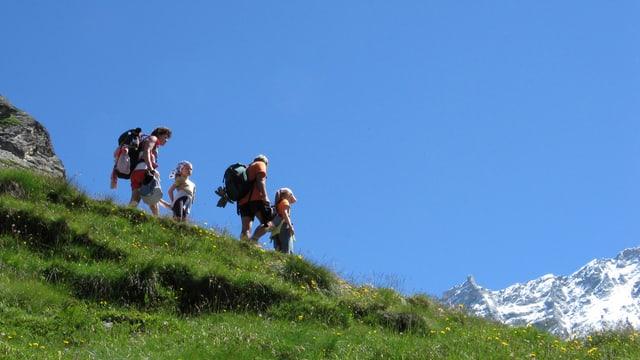 Familie läuft über Wiese hinunter ins Tal
