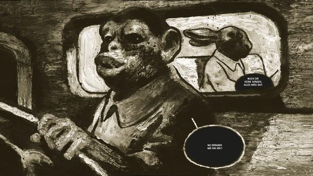 Zeichnug: Ein Auto von innen, am Steuer sitzt ein Affe, auf der Rückbank ein Hase