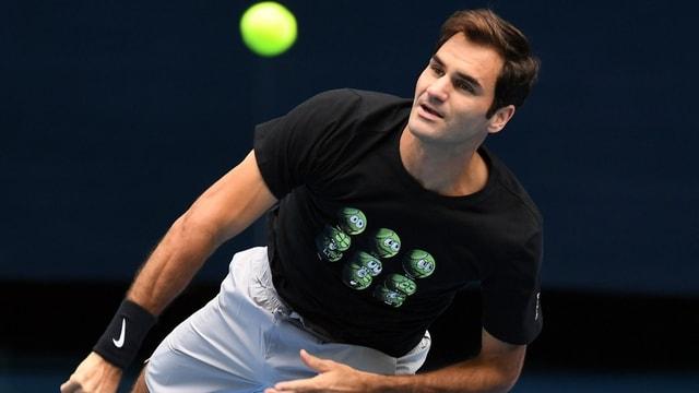 Roger Federer beim Training in Melbourne