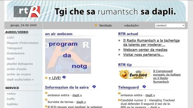 Il maletg mussa la pagina rtr.ch da l'onn 2004